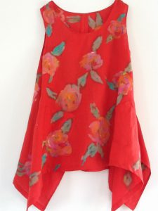 Red Linen Floral Top